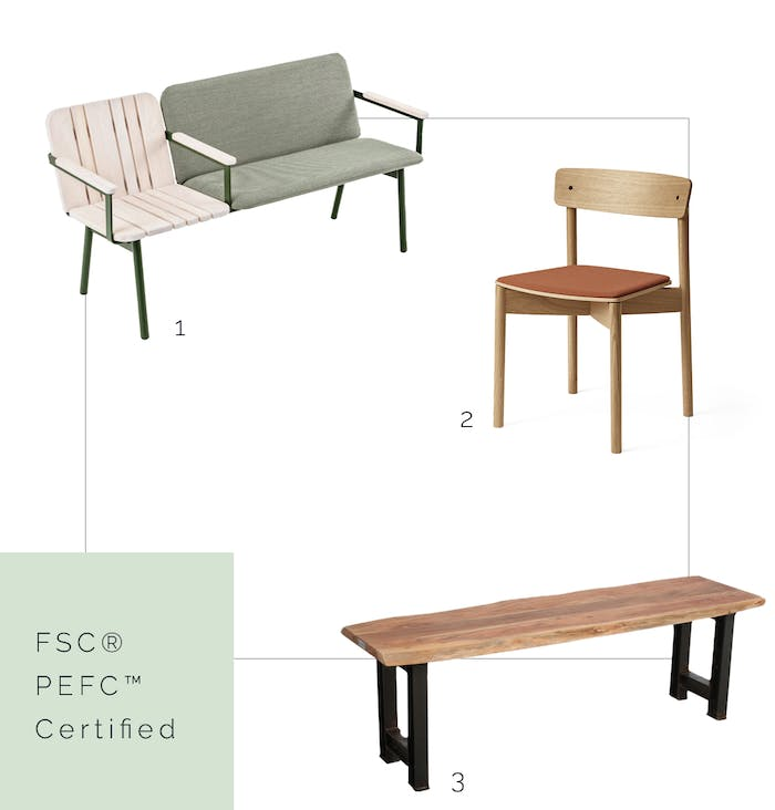 """FSC® - PEFC™ certified benches and chair.<span class=""""sr-only""""> (opened in a new window/tab)</span>"""