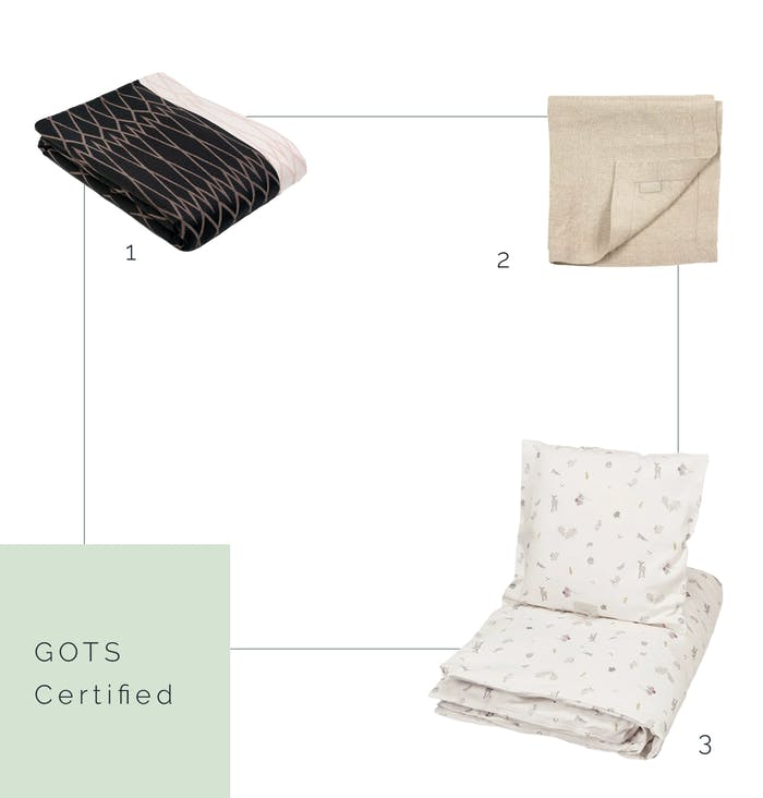 """GOTS certified napkin, blanket and bedding.<span class=""""sr-only""""> (opened in a new window/tab)</span>"""