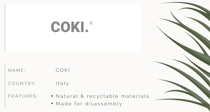 """ID card. Name: COKI. Country: Italy. Features: natural & recyclable materials. Made for disassembly.<span class=""""sr-only""""> (opened in a new window/tab)</span>"""