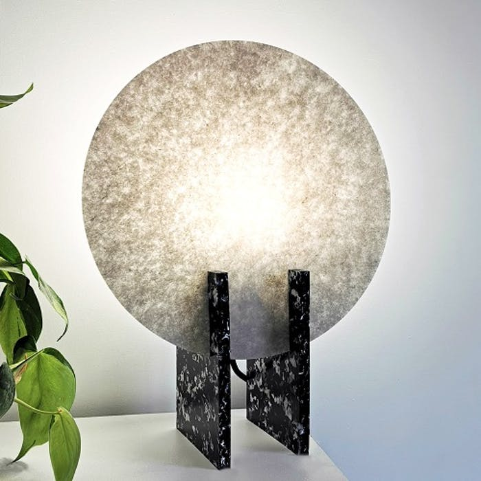 "Table lamp with black squared legs and a white circle as a shade.<span class=""sr-only""> (opened in a new window/tab)</span>"