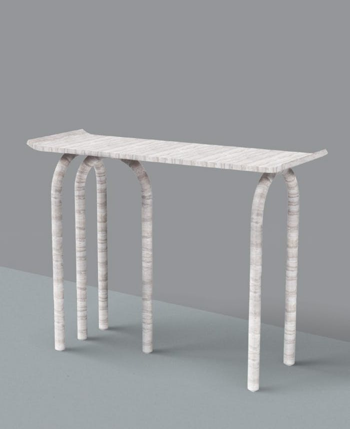 "Travertine console with 3 arc-shaped legs.<span class=""sr-only""> (opened in a new window/tab)</span>"