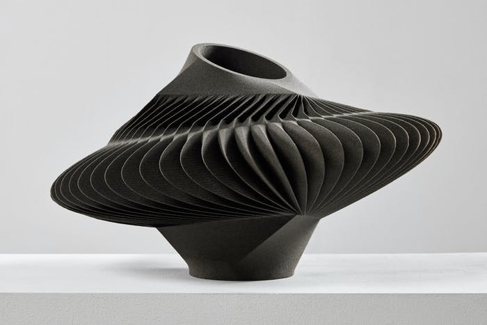 "3D printed sand vase with a seemingly pleated shape.<span class=""sr-only""> (opened in a new window/tab)</span>"
