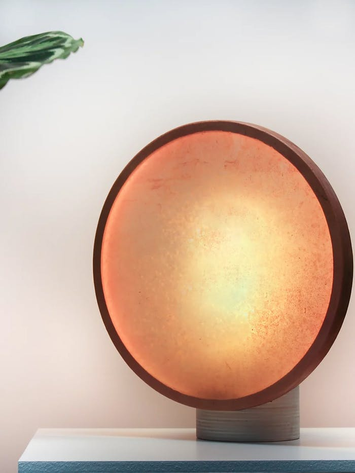 """Bacterial cellulose table lamp on on table.<span class=""""sr-only""""> (opened in a new window/tab)</span>"""