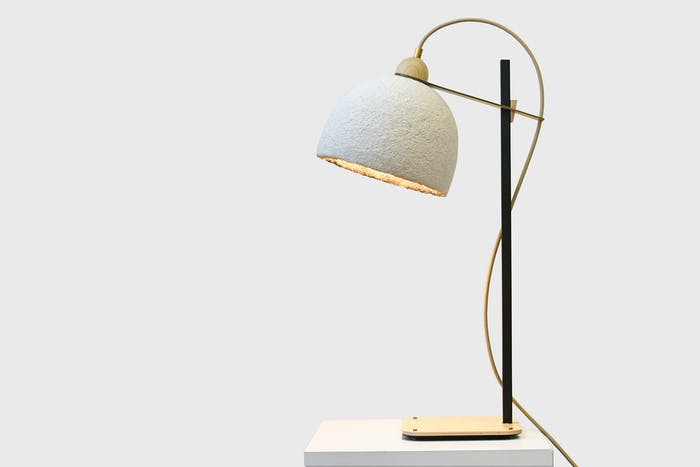 """Mycelium table lamp with brass, black and wood base.<span class=""""sr-only""""> (opened in a new window/tab)</span>"""