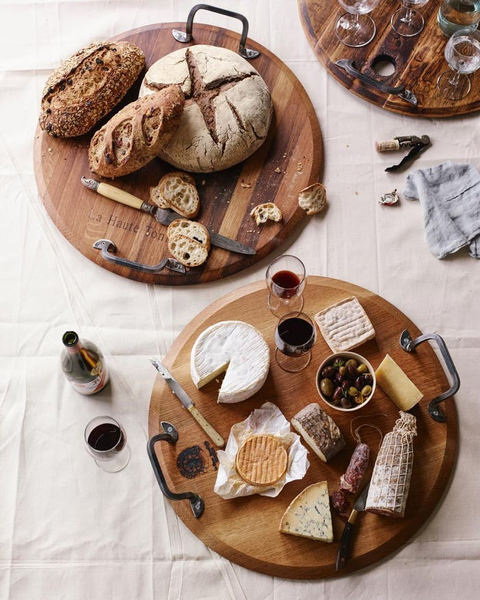 """Flatlay of wood trays made with old wine barrels.<span class=""""sr-only""""> (opened in a new window/tab)</span>"""