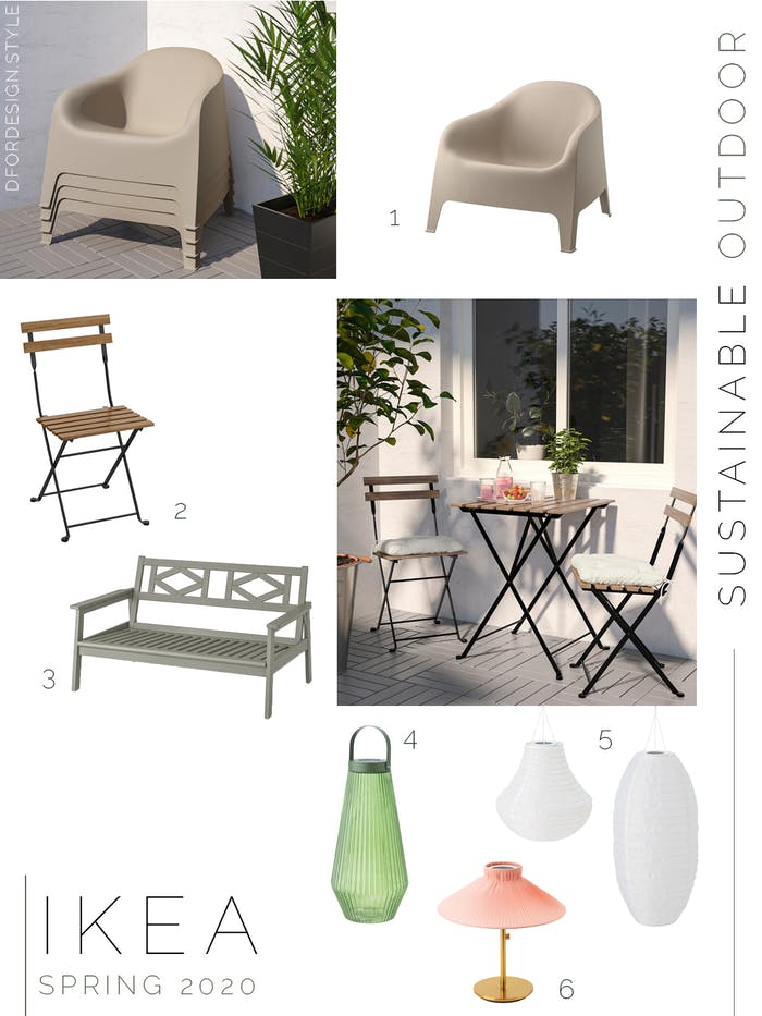 "Moodboard showing sustainable outdoor furnishings launched in IKEA spring catalogue 2020.<span class=""sr-only""> (opened in a new window/tab)</span>"