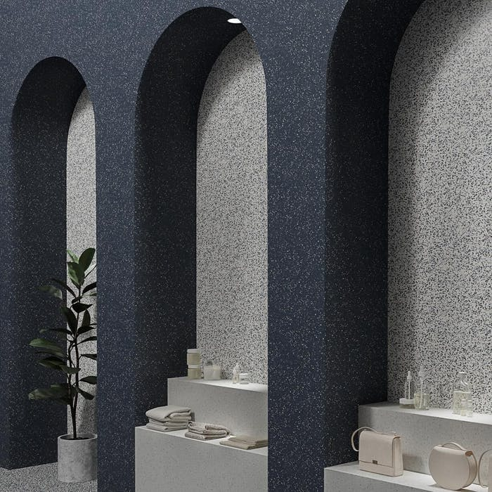 """Shop design with arched wall covered in blue and grey vinyl, accentuating the niches created by the arches.<span class=""""sr-only""""> (opened in a new window/tab)</span>"""