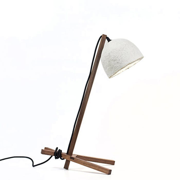 "A table lamp with wood structure and mycelium base shade.<span class=""sr-only""> (opened in a new window/tab)</span>"