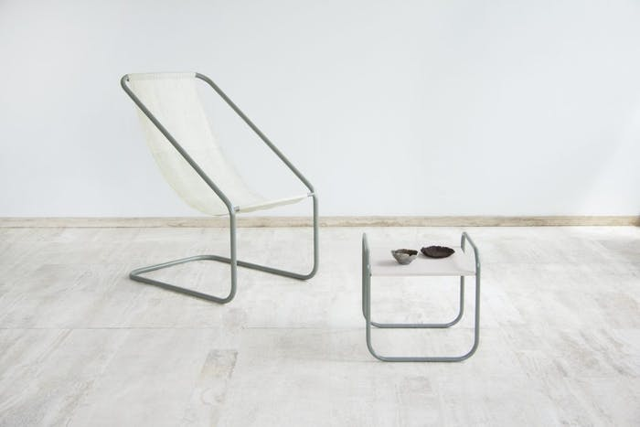 "The sea-me collection; a chair, a side table and a few bowls all made of seaweed.<span class=""sr-only""> (opened in a new window/tab)</span>"