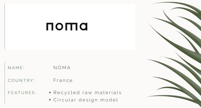 """Sustainable design ID card of NOMA. Name: NOMA. Country: France. Features: recycled raw materials, circular design model.<span class=""""sr-only""""> (opened in a new window/tab)</span>"""