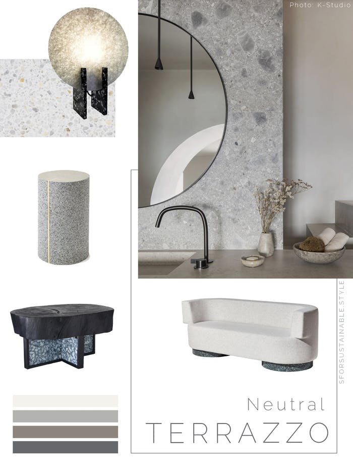 """Moodboard showing a variety of sustainable furniture & accessories with a terrazzo finish & a neutral colour.<span class=""""sr-only""""> (opened in a new window/tab)</span>"""