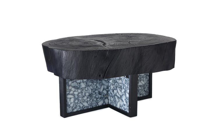"""Black coffee table with recycled plastic base and solid wood top.<span class=""""sr-only""""> (opened in a new window/tab)</span>"""
