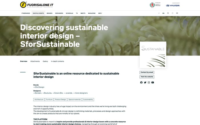 """Screenshot of SforSustainable event page on Fuorisalone.<span class=""""sr-only""""> (opened in a new window/tab)</span>"""