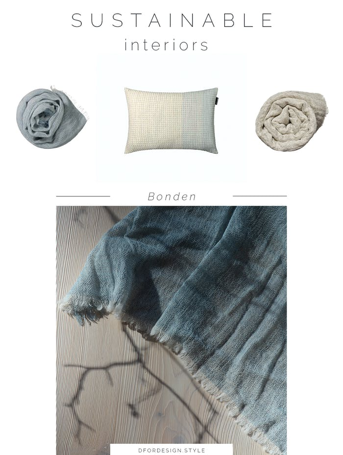 """Moodboard showing some of Bonden's new products: a cushion and 2 blankets.<span class=""""sr-only""""> (opened in a new window/tab)</span>"""