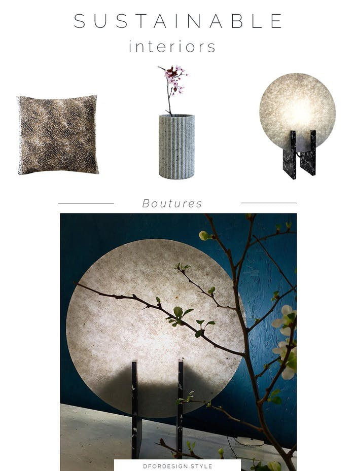 """Moodboard showing some of Boutures's products: a cushion, a vase and a table lamp.<span class=""""sr-only""""> (opened in a new window/tab)</span>"""