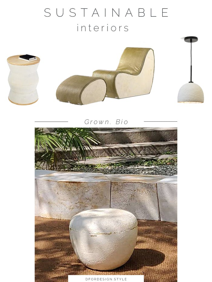 """Moodboard showing some of Grown.Bio's products: a side table, an armchair, a pendant lamp.<span class=""""sr-only""""> (opened in a new window/tab)</span>"""