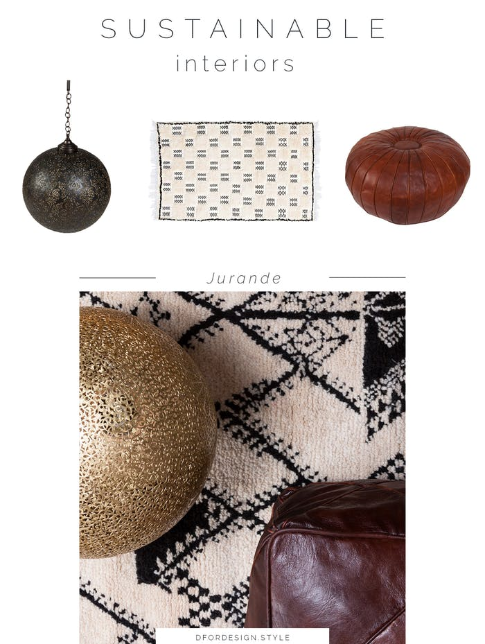 """Moodboard showing some of Jurande's products: a pendant lamp, a rug, a pouf.<span class=""""sr-only""""> (opened in a new window/tab)</span>"""