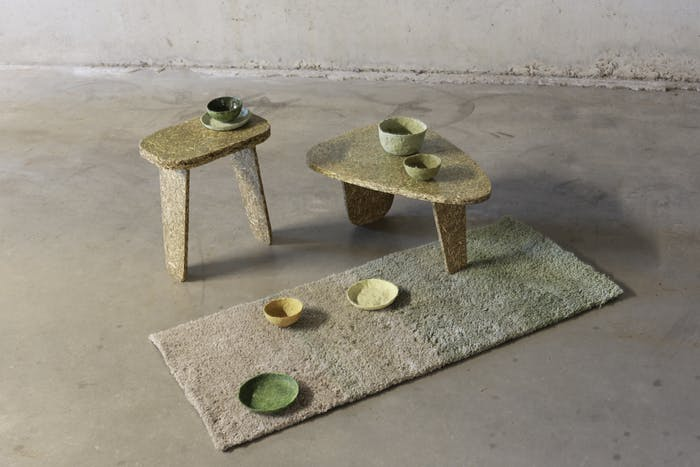 "Collection of low tables, bowls and rug made with stinging nettle.<span class=""sr-only""> (opened in a new window/tab)</span>"
