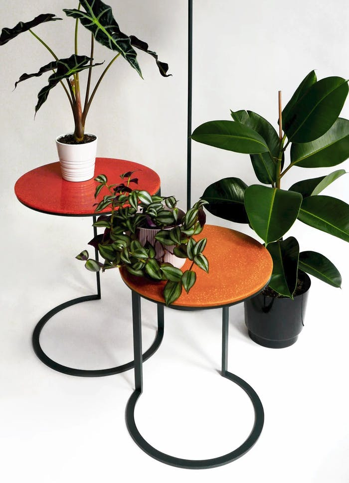 """Side tables with metal structure and bright orange top made of lentil pulp.<span class=""""sr-only""""> (opened in a new window/tab)</span>"""