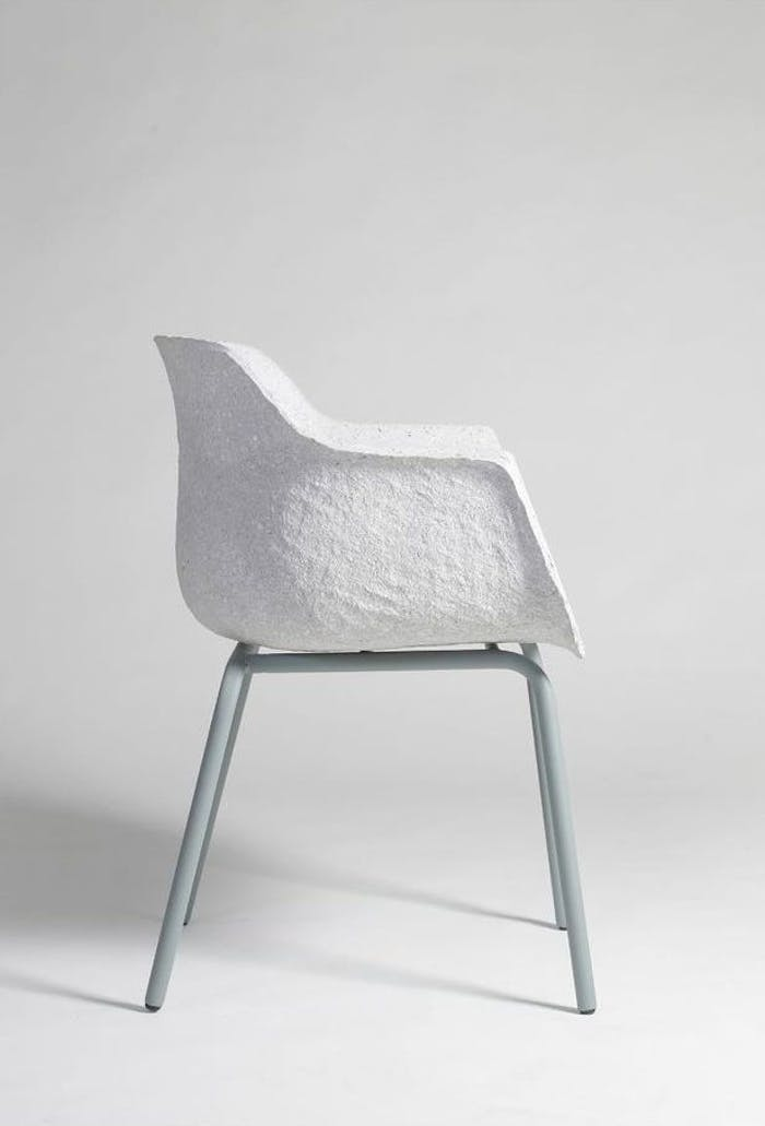 """Recycled paper white chair - side view.<span class=""""sr-only""""> (opened in a new window/tab)</span>"""