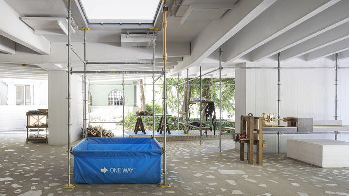 """View of the pavilion made of all non-virgin materials.<span class=""""sr-only""""> (opened in a new window/tab)</span>"""