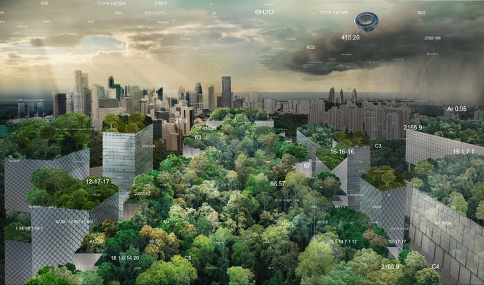 """View of an imaginary city with all green roofs.<span class=""""sr-only""""> (opened in a new window/tab)</span>"""