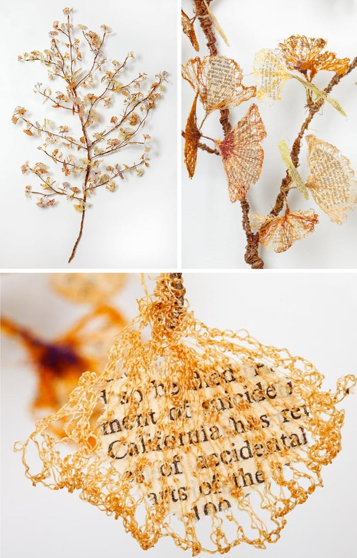 """Textile art in the shape of a branch made of yarn leaves and close-up of a leaf showing the book fragment encased.<span class=""""sr-only""""> (opened in a new window/tab)</span>"""