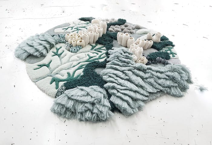 """Textile art reproducing coral reefs - perfect for a biophilic design.<span class=""""sr-only""""> (opened in a new window/tab)</span>"""