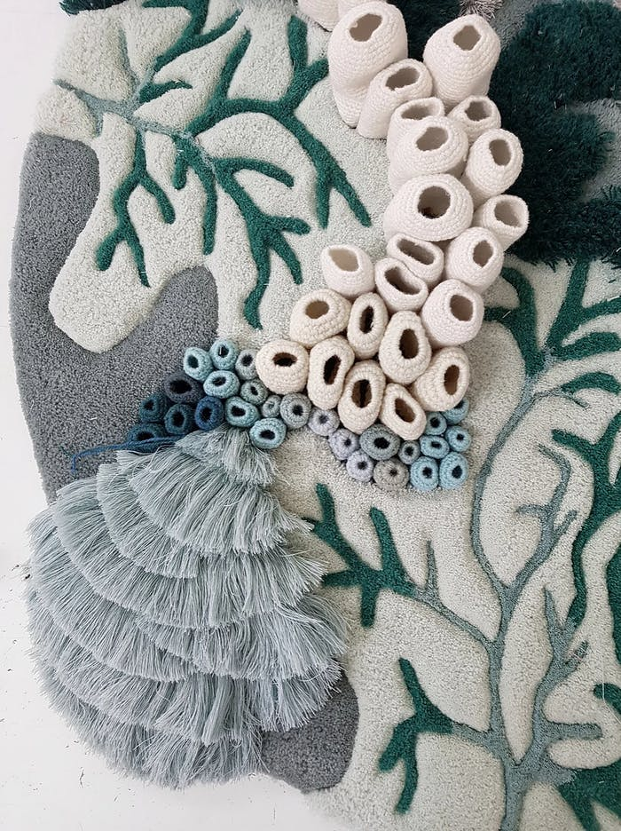 """Detail of the coral reef textile art.<span class=""""sr-only""""> (opened in a new window/tab)</span>"""