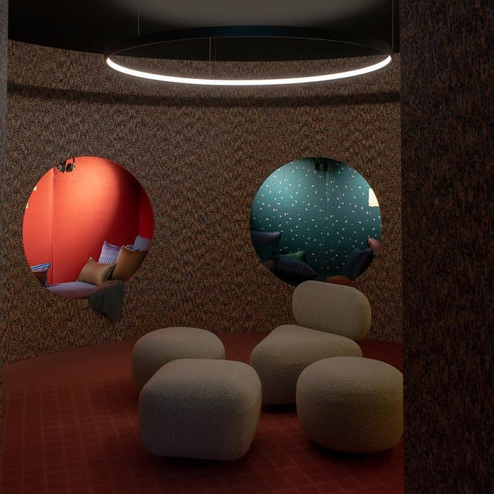 """Rounded alcoves for relaxation at the workplace, one of the additions of the workspace design of the future.<span class=""""sr-only""""> (opened in a new window/tab)</span>"""
