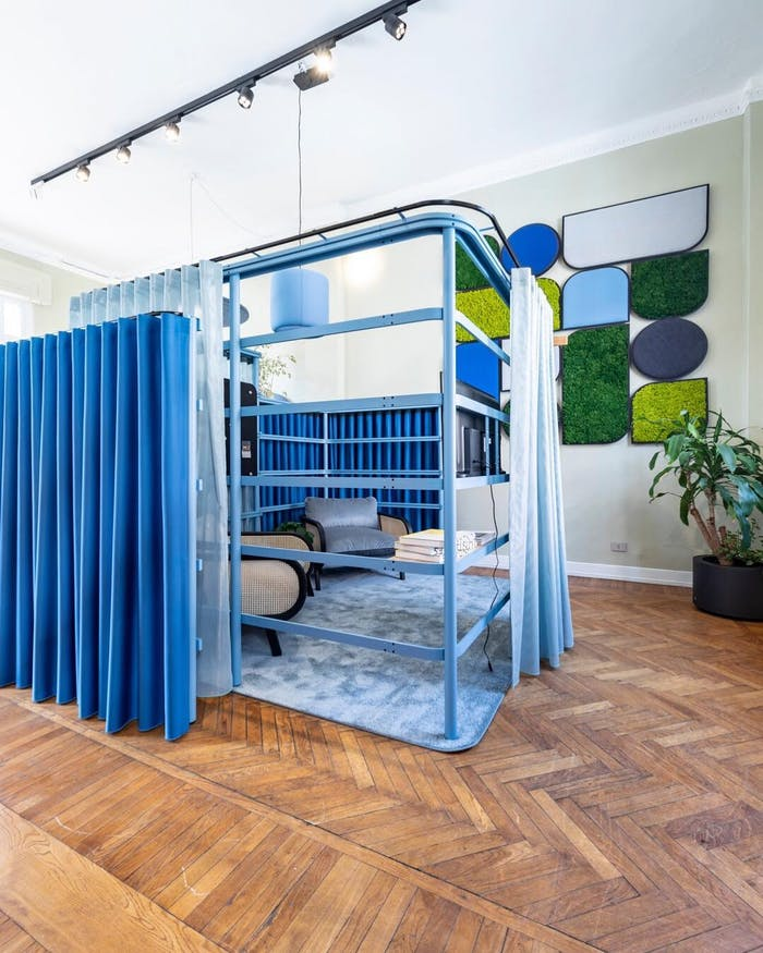"""Small conversation areas enclosed with curtains.<span class=""""sr-only""""> (opened in a new window/tab)</span>"""