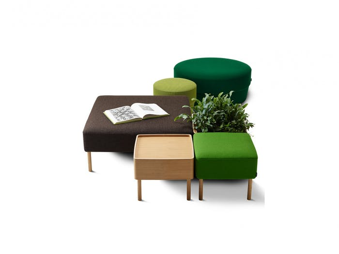 """Modular bench with modules for seating, storage and plants, an ideal solution for the flexible workspace design of the future.<span class=""""sr-only""""> (opened in a new window/tab)</span>"""