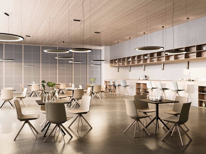 """Office canteen area furnished with sound insulating tables.<span class=""""sr-only""""> (opened in a new window/tab)</span>"""
