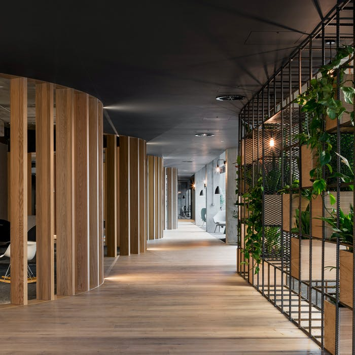 """Slack European Office, which applies biophilic design using wood partitions and plants.<span class=""""sr-only""""> (opened in a new window/tab)</span>"""