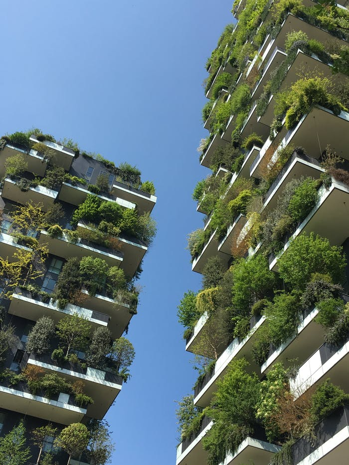 """Vertical garden in Milan, an example of biophilic design by Stefano Boeri Architetti.<span class=""""sr-only""""> (opened in a new window/tab)</span>"""