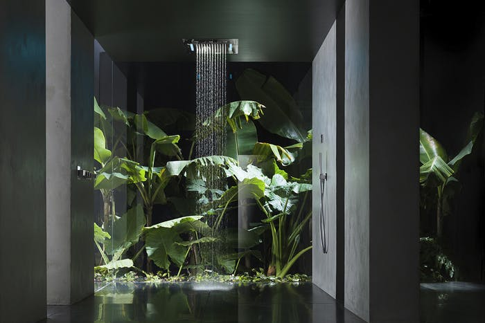 """Waterfall shower with full height plants behind.<span class=""""sr-only""""> (opened in a new window/tab)</span>"""