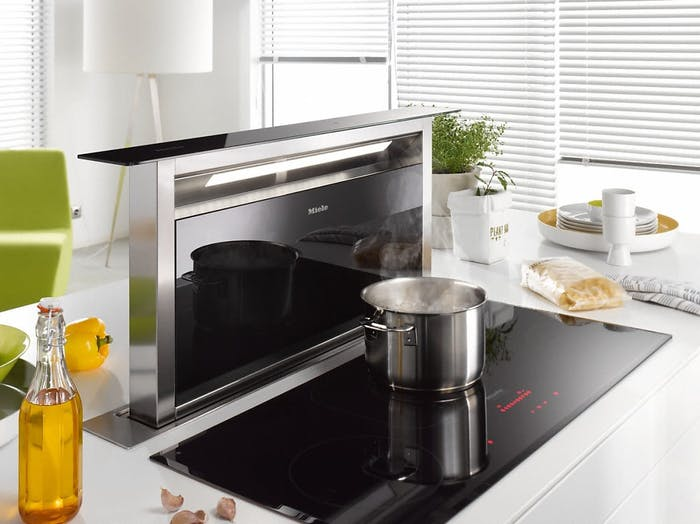 """Hideaway hood, the perfect choice for an invisible open kitchen.<span class=""""sr-only""""> (opened in a new window/tab)</span>"""