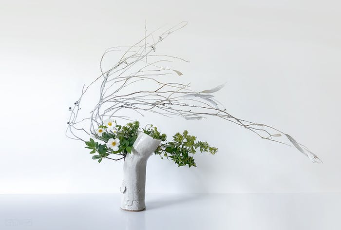 """Ikebana arrangement with highly bent stems.<span class=""""sr-only""""> (opened in a new window/tab)</span>"""