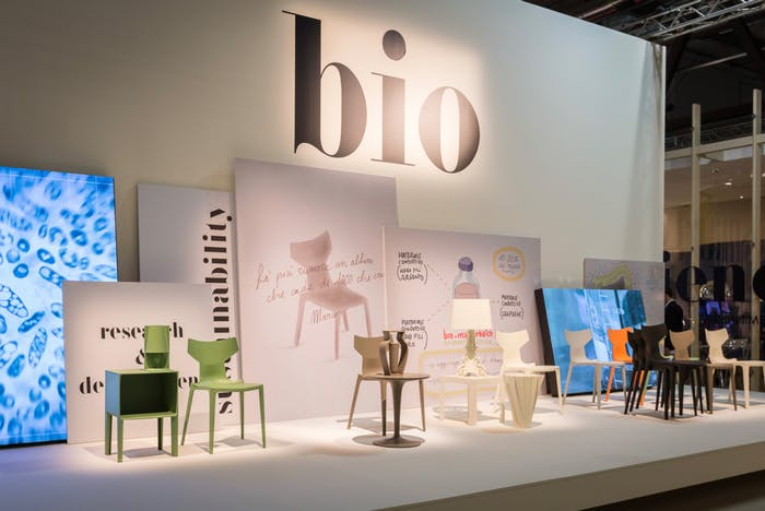 "Kartell installation at Milan Design Week, showing the new Bio chair and other iconic pieces, all produced with the new biopolymer.<span class=""sr-only""> (opened in a new window/tab)</span>"